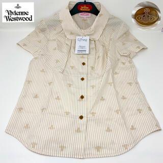 ヴィヴィアンウエストウッド(Vivienne Westwood)の 新品☺︎Vivienne Westwood 半袖シャツ オーブ 丸襟 ベージュ(シャツ/ブラウス(半袖/袖なし))