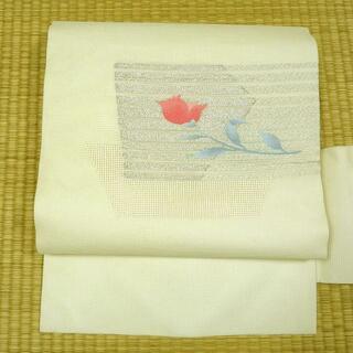 夏帯 白地に銀糸と花 名古屋帯(帯)