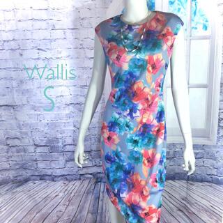 ウォリス(Wallis)の新品 Wallis ペールブルー水彩風ボタニカルワンピース S(ひざ丈ワンピース)