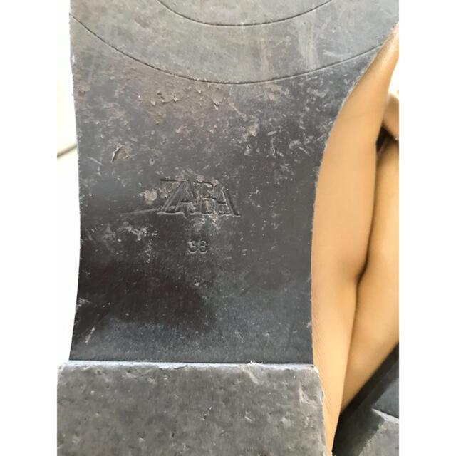 ZARA(ザラ)のZARA バックル付きレザーモカシン 38 キャメルブラウン レディースの靴/シューズ(スリッポン/モカシン)の商品写真