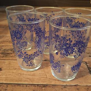 東洋佐々木ガラス - 昭和レトロ 東洋佐々木硝子 青小花 グラス