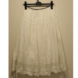 ミナペルホネン(mina perhonen)のミナペルホネン ananas アナナス スカート 白 38サイズ(ひざ丈スカート)
