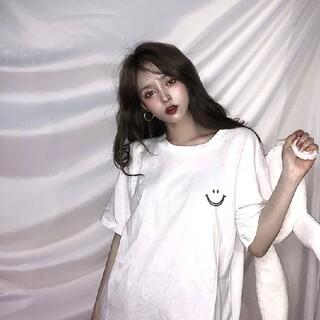 にこちゃんマーク ホワイト 白 Tシャツ(Tシャツ(半袖/袖なし))