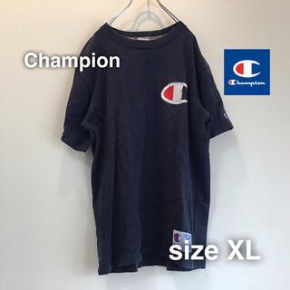 チャンピオン(Champion)のChampion チャンピオン Tシャツ XL 刺繍ロゴ オーバーサイズ 紺 衿(Tシャツ/カットソー(半袖/袖なし))
