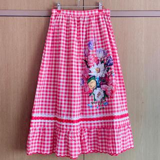 グリモワール(Grimoire)の♡お値下げ中♡古着 ギンガムチェックフラワースカート RED(ロングスカート)