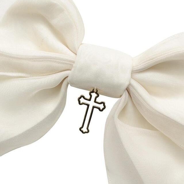 Angelic Pretty(アンジェリックプリティー)のHolyクロスリボンクリップ レディースのヘアアクセサリー(バレッタ/ヘアクリップ)の商品写真