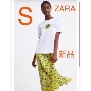 ザラ(ZARA)の【新品タグ付き】フローラル プリントTシャツ S 完売品(Tシャツ(半袖/袖なし))