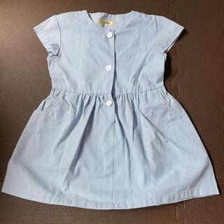 幼稚園 制服 水色×白色ストライプ柄 ワンピース 120㎝(ワンピース)
