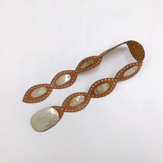 トーガ(TOGA)のヴィンテージ レトロ モッロコ製 シルバー 彫金 ワイド レザー サッシュベルト(ベルト)