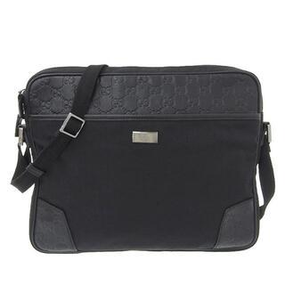 グッチ(Gucci)のグッチ シマ ショルダーバッグ レザー×ナイロン ブラック 170062(ビジネスバッグ)
