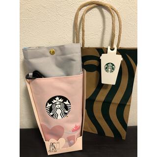 スターバックスコーヒー(Starbucks Coffee)の新品 スターバックス スタバ ショルダー ボトルケース ショップ袋1枚(ショルダーバッグ)