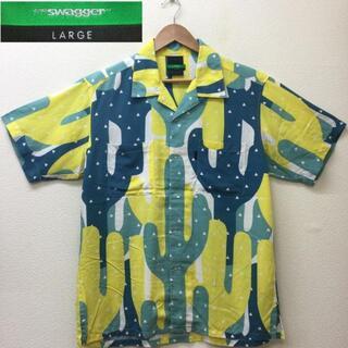 SWAGGER アロハシャツ サボテン 総柄 プリント オープンカラー ビッグ (シャツ)