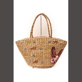 エイチビージー(HbG)のエイチビージー HbG 刺繍デザイン かご バッグ /kf0525(かごバッグ/ストローバッグ)
