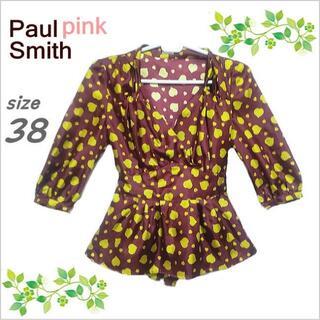 ポールスミス(Paul Smith)の【Paul Smith PINK】エンジ総柄カシュクールブラウス*38(シャツ/ブラウス(長袖/七分))