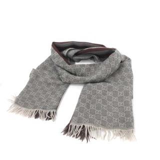 グッチ(Gucci)のグッチ GUCCI GGパターン マフラー ストール イタリア製 ウール グレー(マフラー)