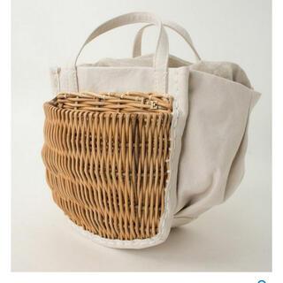 アッシュペーフランス(H.P.FRANCE)のエバゴス 防水キャンバス かごポケット付きトート かごバッグ(かごバッグ/ストローバッグ)