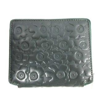 マリメッコ(marimekko)のマリメッコ ペトラ ウニッコ 財布 二つ折り 型押し 花柄 総柄 レザー 緑(財布)