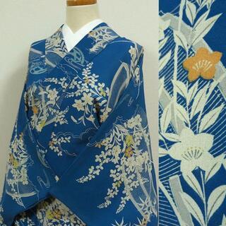 夏着物 紺青色に萩や桔梗 アンティーク小紋(着物)