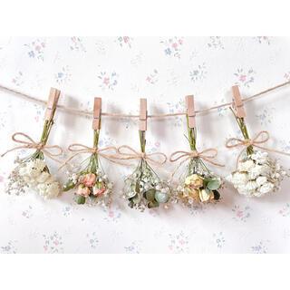 淡い2種のバラとかすみ草のホワイトドライフラワーガーランド♡スワッグ♡ミニブーケ(ドライフラワー)