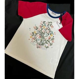 レッドヴァレンティノ(RED VALENTINO)の【新品タグ付】レッドヴァレンティノ ラグランTシャツ フラワープリント ロゴ入り(Tシャツ(半袖/袖なし))