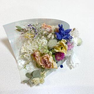 ドライフラワー バラと小花のスワッグ 93 ブーケ デルフィニウム(ドライフラワー)
