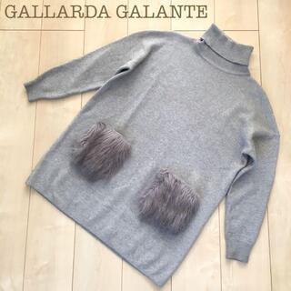 ガリャルダガランテ(GALLARDA GALANTE)のGALLARDA GALANTEタートルネックニットセーターファーグレーFワイド(ニット/セーター)