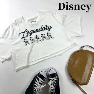 ディズニー(Disney)のDisney Mickey コットン100% クロップドTシャツ 半袖ショート丈(Tシャツ(長袖/七分))