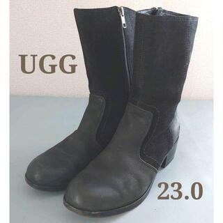 アグ(UGG)のUGG アグ シープスキンレーザーブーツ 23.0黒ブラック ムートン秋冬(ブーツ)