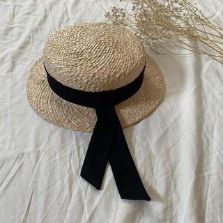 麦わら帽子《ヴィンテージライク》ストローハット カンカン帽 古着コーデに◎(麦わら帽子/ストローハット)