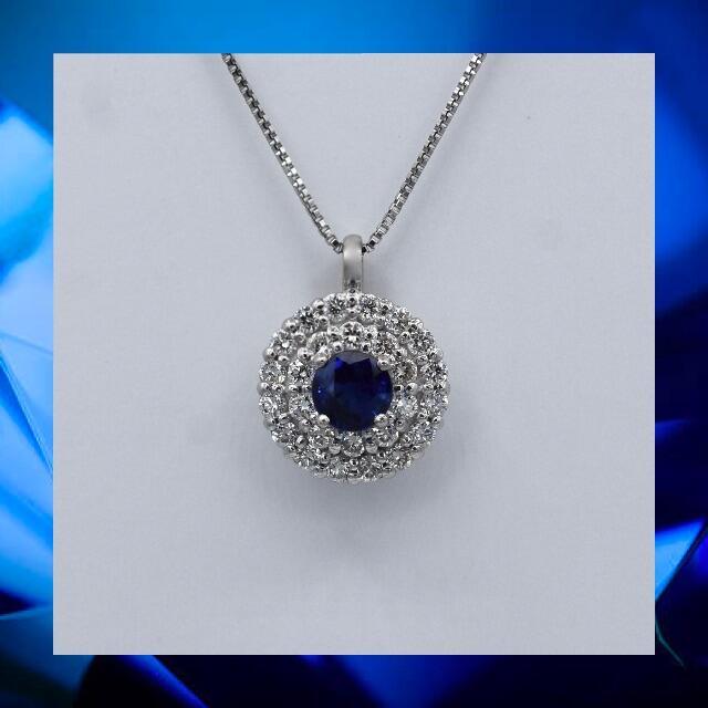 サファイア 取り巻き ダイヤモンド  Pt900 プラチナ ペンダント  レディースのアクセサリー(ネックレス)の商品写真
