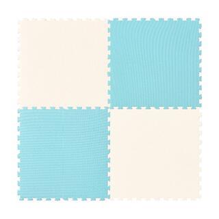 【新品】大判58㎝ ジョイントマット 約3畳用16枚 フチ付き 抗菌 水色(その他)