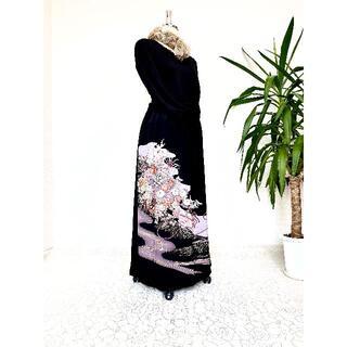 黒留袖着物リメイクウエストゴムスカート【超ロング丈】送料無料フリーサイズ492