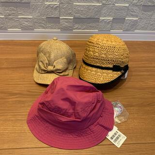 プティマイン(petit main)のプティマイン リボン 付き 帽子 麦わら キャップ セット(帽子)