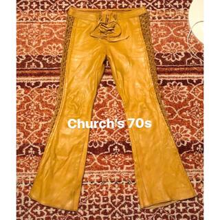 チャーチ(Church's)のChurch's 70s レディース 本革レザーフレアパンツ イエロー(その他)