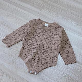 ボンポワン(Bonpoint)のmonbebe 透かし編みロンパース M size(ロンパース)