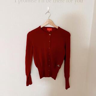 ヴィヴィアンウエストウッド(Vivienne Westwood)のヴィヴィアン カラーオーブの赤のニットカーディガン (カーディガン)