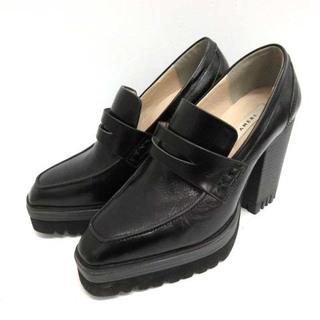 アメリヴィンテージ(Ameri VINTAGE)のアメリヴィンテージ S ローファー チャンキーヒール レザー 黒 ブラック(ローファー/革靴)