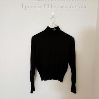 ヴィヴィアンウエストウッド(Vivienne Westwood)のヴィヴィアン カラーオーブのハイネックニット 黒(ニット/セーター)
