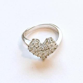 未使用◆K18 ハートリング 18金ホワイトゴールド(リング(指輪))