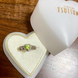 ジュエリーツツミ(JEWELRY TSUTSUMI)のk14wg ハート型 ペリドット×ダイヤモンド リング(リング(指輪))