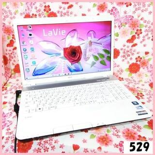 エヌイーシー(NEC)の綺麗なクリスタルホワイト♥DVD/オフィス/無線♥500GB/4GB♥美品(ノートPC)