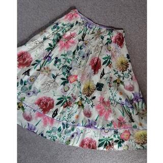 ケイタマルヤマ(KEITA MARUYAMA TOKYO PARIS)のKEITA MARUYAMA ケイタマルヤマ フラワープリントスカート ホワイト(ひざ丈スカート)