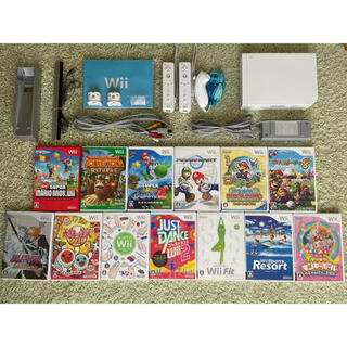 ウィー(Wii)の[本体+ソフト14本] 二人で遊べる Wiiセット スーパーマリオ(家庭用ゲーム機本体)