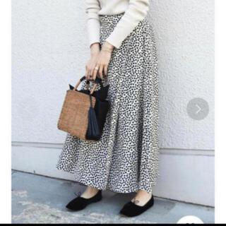 シップスフォーウィメン(SHIPS for women)の新品♡レオパードフレアスカート ホワイト(ロングスカート)
