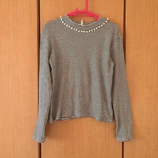 イング(INGNI)の首元パール付きボーダーTシャツ(Tシャツ(長袖/七分))