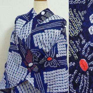 有松絞り 白地に藍色の蝶 浴衣(浴衣)