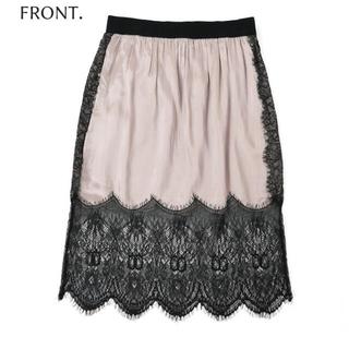 ディーゼル(DIESEL)の新品♡DIESELサテンレーススカート(ひざ丈スカート)