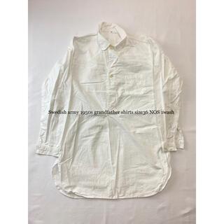 フランクリーダー(FRANK LEDER)の1950年代レディスサイズ スウェーデン軍vintageグランパシャツ未使用36(シャツ/ブラウス(長袖/七分))