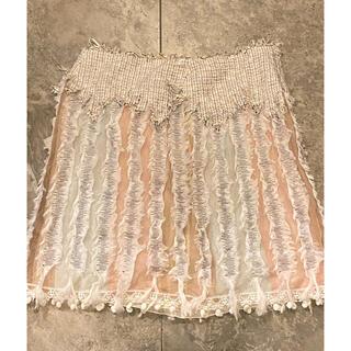 シャネル(CHANEL)のシャネル ツイード、チュール、レース 異素材ミックス スカート (ひざ丈スカート)