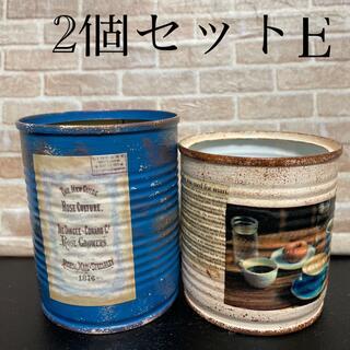 リメ缶、リメイク缶2個セットおまけ苗付きE(プランター)